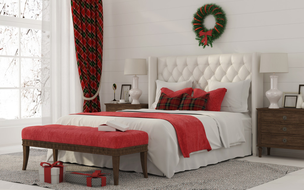 Christmas Interior of a white bedroom